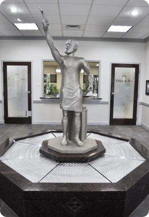 Cast aluminum statue of Vulcan in our corporate headquarters.